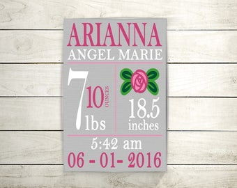 Nursery decor, New Baby Gift, New Baby Wall Art, Nursery,  Birth Stats Sign, Personalized Baby Stats, Baby Girl, Birth Announcement, Canvas