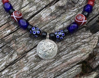 Viking Silver and Glass Bead Necklace