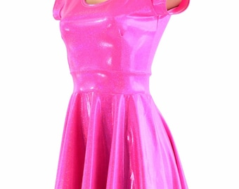 Hot Bubble Gum Pink Metallic Holographic Scoop Neck Cap Sleeve Fit and Flare Skater Skate Dress 150180