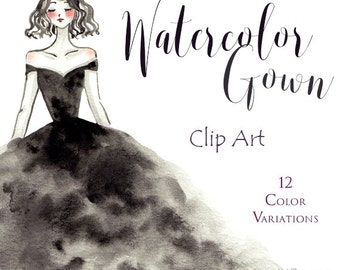 Watercolor Fashion Gown Clip Art PNG, Blog, Invitation, Fashion Art, Handpainted Clip Art, Watercolor Graphics, Fashion Illustration