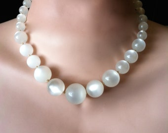 "Vintage 50's Lucite  ""MOON GLOW BEADs Necklace"" in a Graduated Soft White Strand"