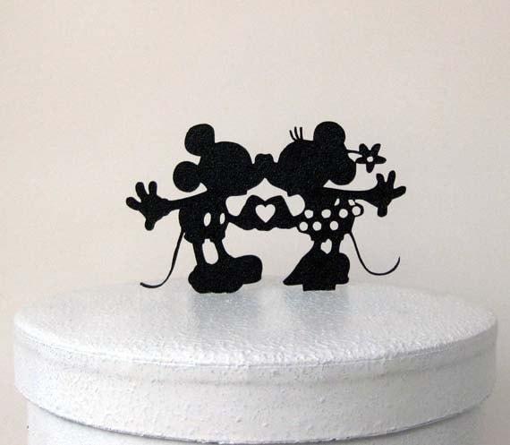Wedding Cake Topper Mickey and Minni silhouette Wedding