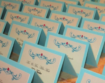 Rhinestone Place Cards - Turquoise Place Cards