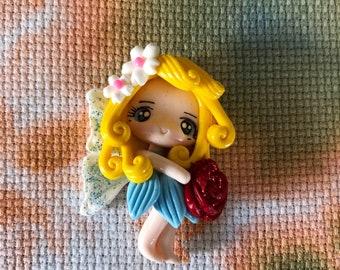 Hand Made Clay Blonde Hair Blue Dress Fairy Princess girl Needle Minder