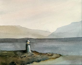 Lighthouse original watercolor, lonely lighthouse with mountains and sea, blue brown colors, 11x14 matted minimalist watercolor seascape