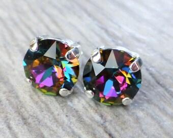 Rainbow Prism Swarovski Stud Earrings, Crystal Rhinestone Stud Earrings, Post Earrings, Silver Round Crystal Studs, Bridesmaid Gifts, Gift