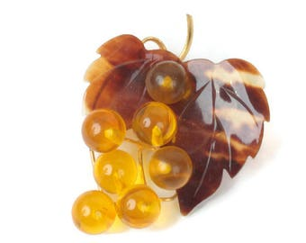 Grape Cluster Brooch Faux Tortoiseshell Lucite Plastic Vintage