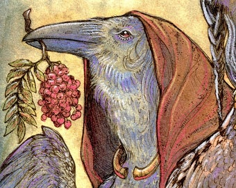 GENERATIONS ※ Celtic Raven Shaman Celtic Crow Ring Jewelry Rowan Stone Maiden Mother Crone Art Print