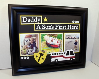 Daddy Father Son Daughter Picture Frame - A Son's/Daughter's First Hero FiremanTheme - 11x14 Frame Included - Any Colors Scheme