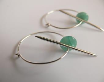 Silver hoop earrings, spiky earrings, Punk earrings, Dangle earrings, Pointy earrings, Green bead earrings, 60s earrings, Arrow earrings.