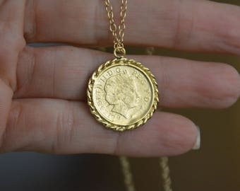 Gold coin necklace, gold coin pendant, coin necklace, antique necklace, delicate gold necklace, everyday gold necklace, bridesmaid necklace