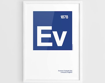 Everton FC Football Elements Poster - A3 Wall Art Typography Print Poster, Minimalist Poster, Football Poster, Soccer Poster