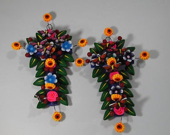 Set of 2 CLAY CROSSES  100% handmade, colorful mexican folk art, tree of life