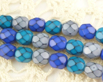 6mm Blue Assortment Snake Round Fire Polished Czech Glass Beads - 1 strand