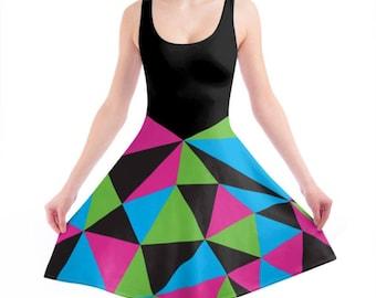 Geo-Prism Neon Skater Dress