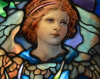 Girl in the Garden - Fine Art Photograph of Antique Stained Glass Window, Boston