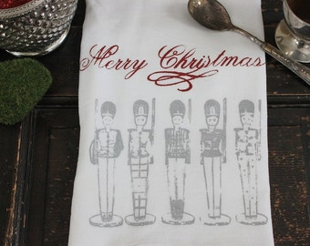 Christmas Towel - 1 - Flour Sack Towel - Kitchen Towel - Merry Christmas  - Dish Towel