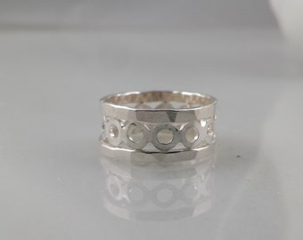 Sterling Silver Stacking  Ring Set - Hammered and  Circle, Set of 3