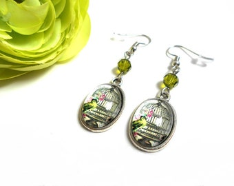 Green bird cage and a green olivine Swarovski Crystal bead earrings