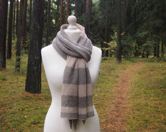 Linen Knitted Scarf, Striped Linen Scarf, Women Accesories, Mother Day Gift, Christmas Gift