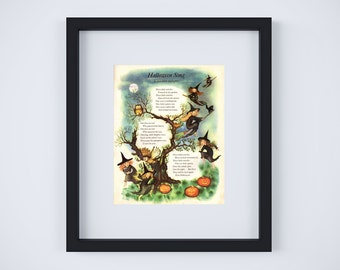 "Vintage Halloween Song Poem Art Print - 11"" x 14"""