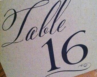 Rustic Kraft Card Stock Tented Table Numbers - Wedding or Event Table Numbers - Brown Kraft Table Numbers - Script Table Numbers - Set of 10