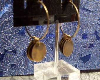 Antiqued Brass Dangle Hoops