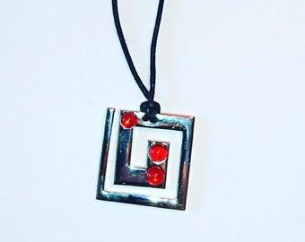 Square fused glass pendant necklace