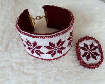 embroidered and beaded bracelet and brooch, accessory for women