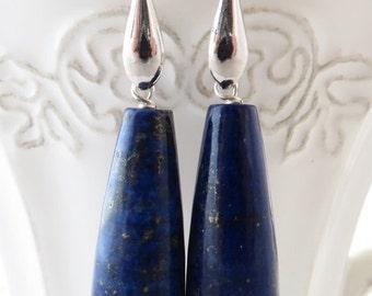 Lapis lazuli earrings, blue stone earrings earrings, sterling silver 925 earrings, dangle earrings, drop earrings, modern jewelry, gioielli