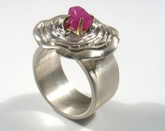 Ruby- July birthstone .Silver ring, gold bezel and semi precious stone- My eternal flower.