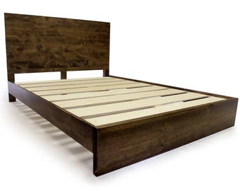 Platform Bed Frame with Metal Legs modern and rustic bed