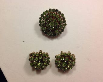 Bright Green Weiss Brooch Pin & Clip On Earrings Vintage