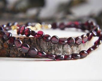 Garnet Necklace, Garnet Choker, Short Necklace, Raw Stone Necklace, Stone Necklace, Birthstone Necklace, Red Necklace, Gold and Garnet, Boho