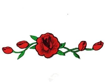 Rose Vine Iron-on Patch 2 pc Set - Red
