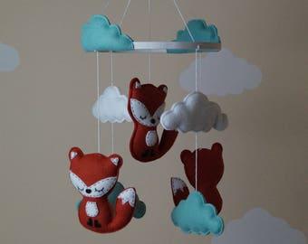 Sleepy woodland baby fox nursery mobile / wall decor,shower gift