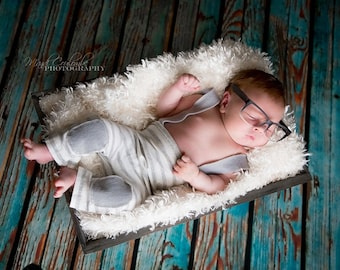 5ft x 5ft Photography Backdrop for Newborns - Rustic Blue Wood Plank Floor Drop for Photos-  Item 254