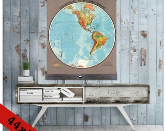 New pull down map or hanging map world map on canvas 1908 world map western hemisphere pull down map world map on canvas 1920 gumiabroncs Images