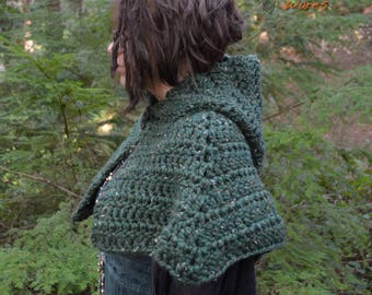 Hooded Capelet - Woodland Wanderer - Short Caplet Shawl - READY TO SHIP