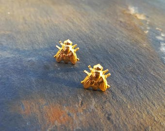 Gilded Fly Studs Tiny Insect Earrings Gilded Brass and Sterling Silver Shafts, Halloween Earrings, Animal Studs