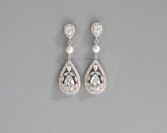 Swarovski Pearl Cystal Bridal Earrings, Crystal and Swarovski Pearl Stud Wedding Earrings, Pearl Drop Earrings, Jewelry, Swarovski, CHERYL