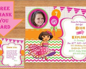 Dora The Explorer Invitation, Dora Invitation, Dora The Explorer Birthday, Dora The Explorer Birthday Party, Dora Party, Thank you Dora 0006