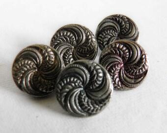 Vintage Metal Buttons Pinwheel Swirl