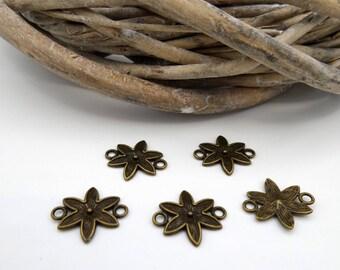10 flowers in antique bronze connectors