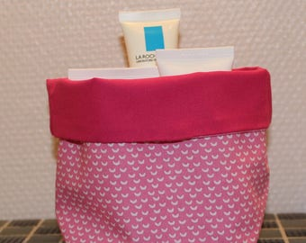 Basket of bath - reversible - candy pink, light pink and white