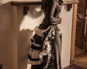 Black and white cosplay steampunk bustle