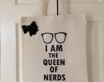 Geek Chic Cotton Tote Bag - Canvas Bag - Long Handled Bag - Market Bag - Eco 100% Cotton - Hand Printed Shopper Bag -  Bookbag - Altered Art