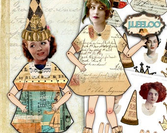 PARTY WiTH PAPER DOLL  printable - Digital collage sheet  - altered art scrapbooking journal page -  jpg instant download - pp288