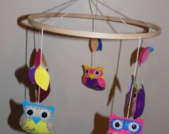 Handmade Felt baby mobile- owls