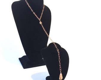16 Inch Copper Citrine Necklace With Vintage Hand Painted Flower Bead Accent  - Reiki Infused